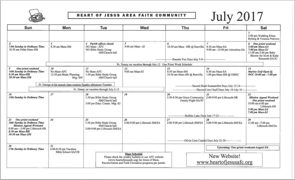 July 2017 AFC Calendar