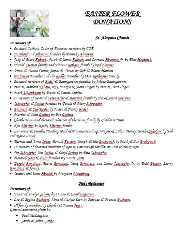 St. Aloysius & Holy Redeemer Flowers