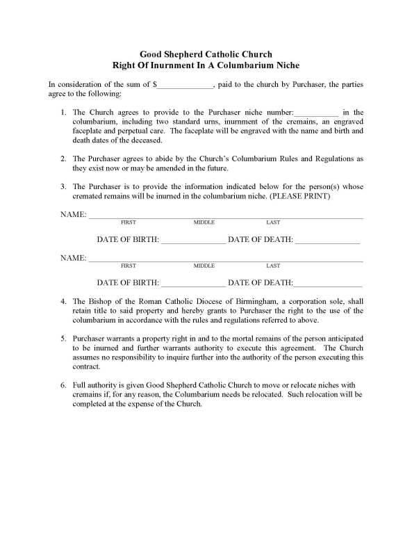 Columbarium Contract Good Shepherd Catholic Church