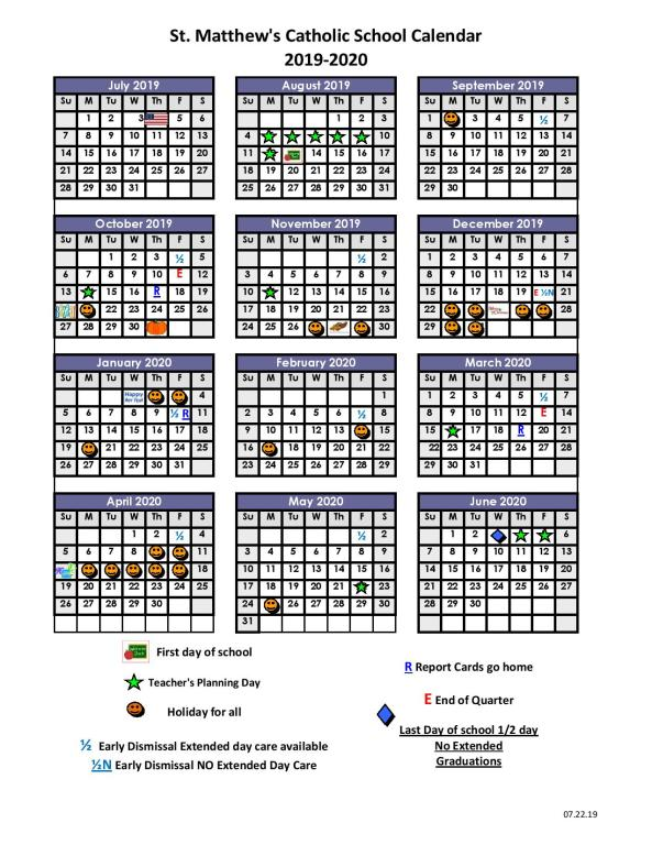 Florida Schools Spring Break 2020.2019 2020 School Calendar St Matthew Catholic School