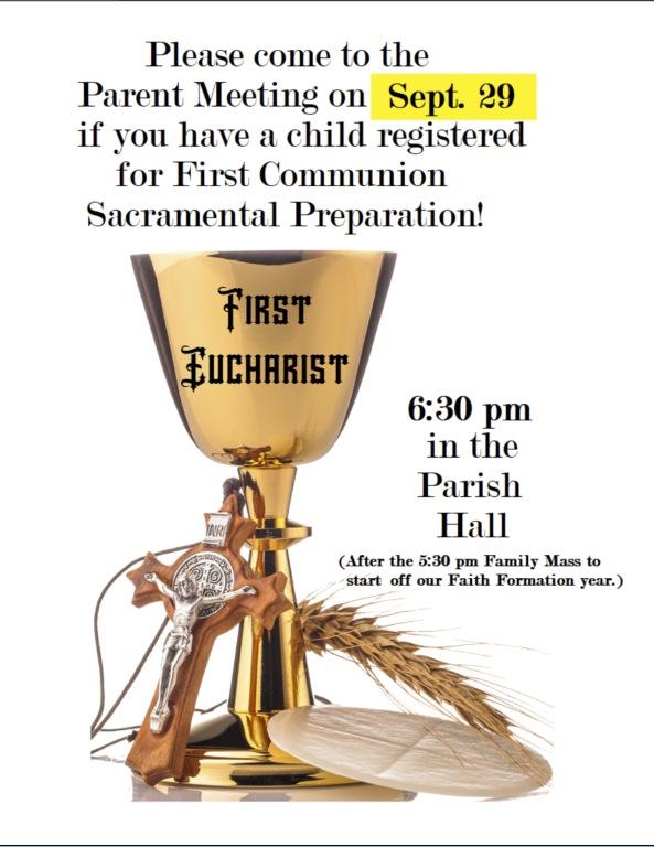 First Eucharist Parent Meeting, Sept 29
