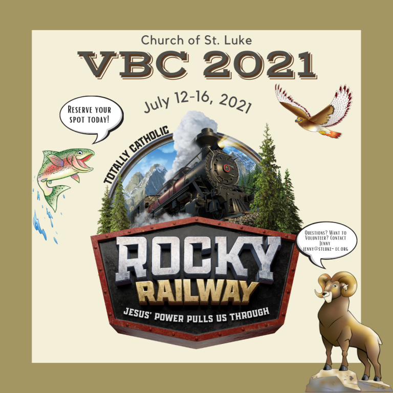 Vacation Bible School Announcement, Click on image for clickable image to link to registration form.