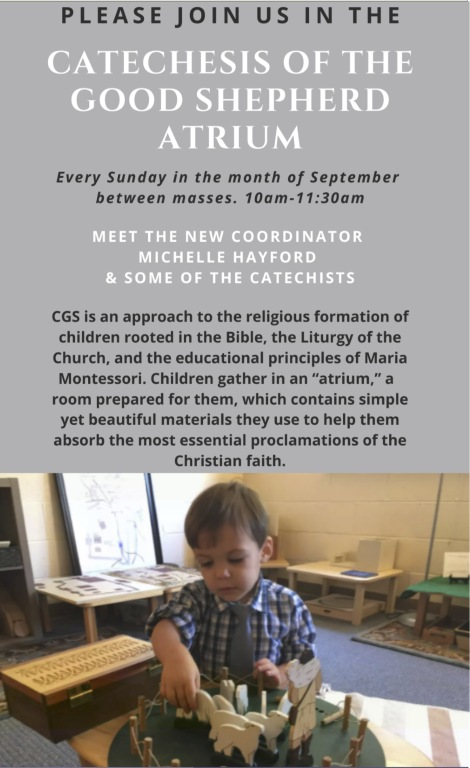 Catechesis of the Good Shepherd Gathering every Sunday during September, 10-11:30am in the Atrium