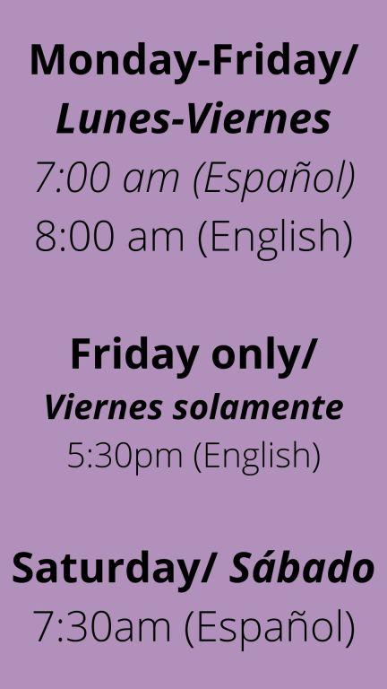 Weekday Mass Schedule