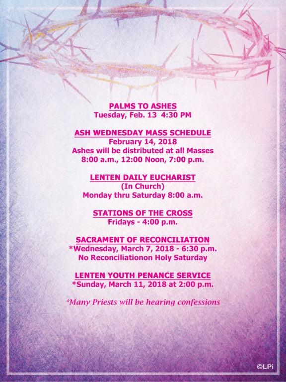Lenten schedule 2018