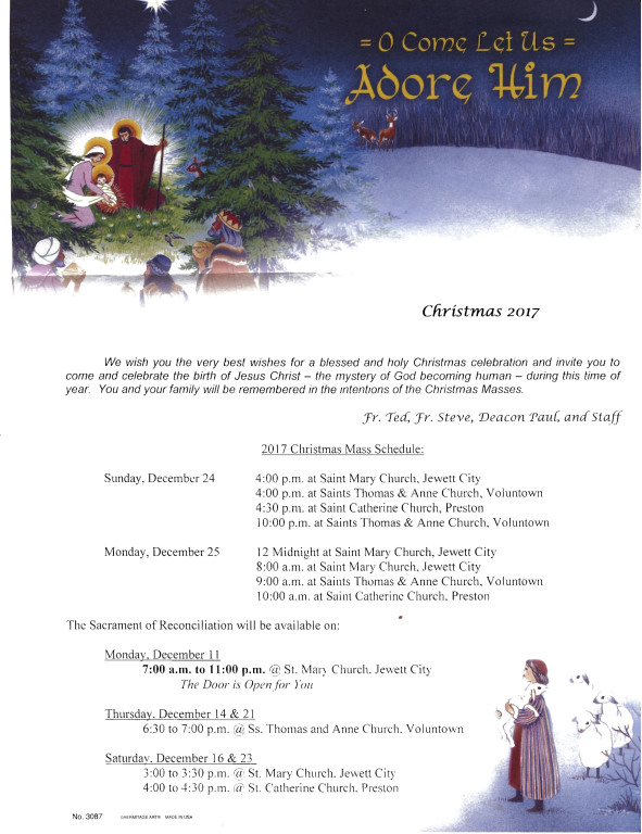 2017 Christmas Mass Schedule | St  Mary, Our Lady of the