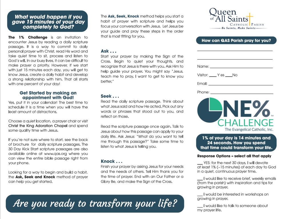 Ask, Seek, Knock: 1% Challenge Brochure | Queen of All