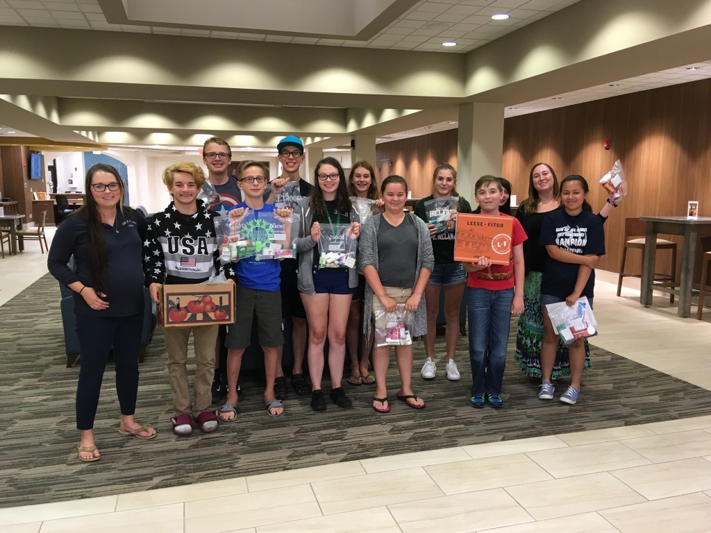 Teens assembled Blessing Bags for the homeless.