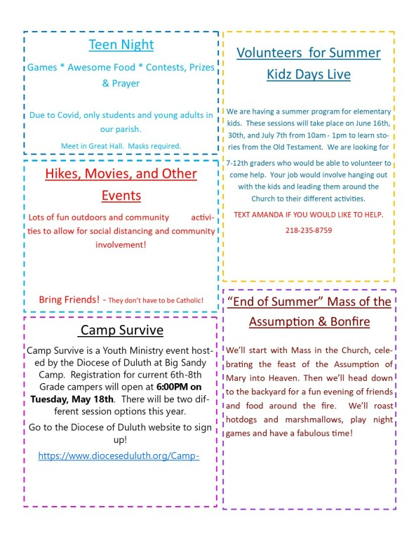 Youth Summer Events 2