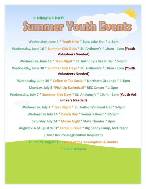 Summer Youth Events 1