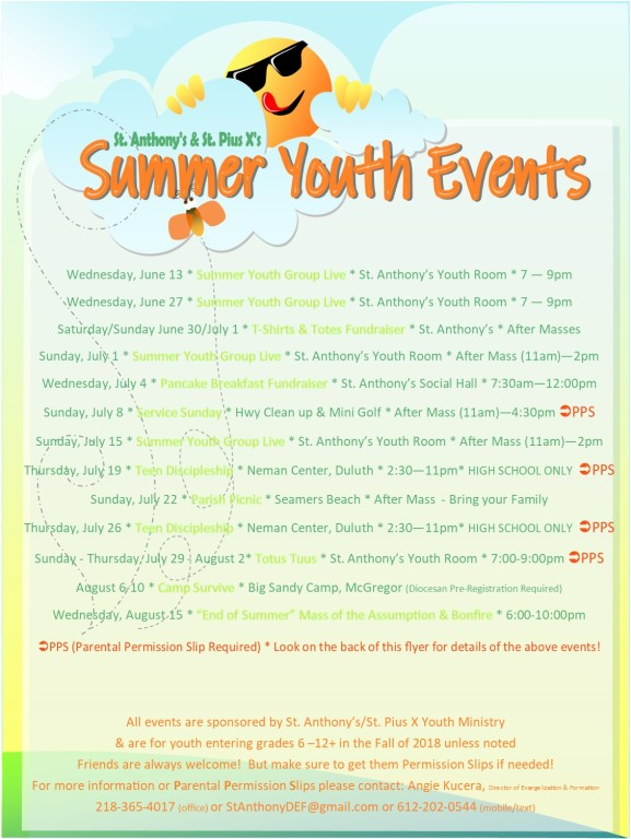 Summer Youth Events 2018