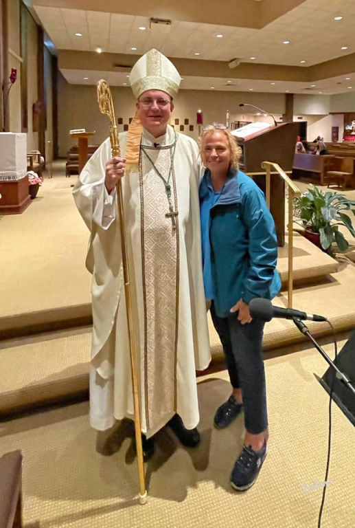 Bishop Barres with Mary Louise Delano