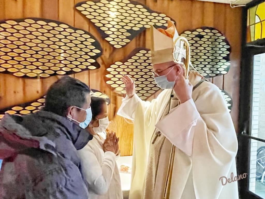 Bishop Barres with parishioners