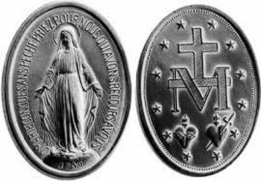 Front and back of a silver miraculous medal