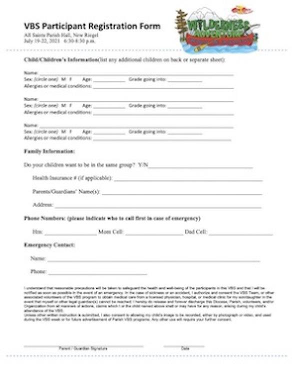 VBS Registration Form Image