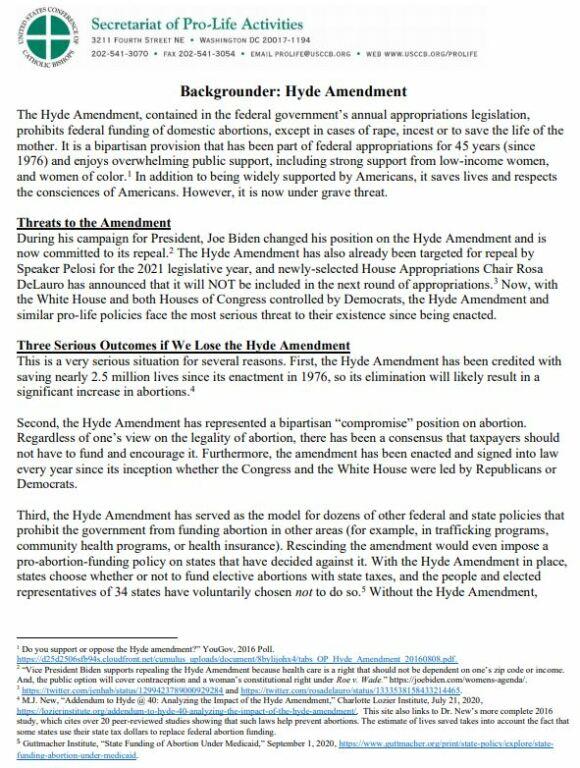 USCCB Hyde Amendment