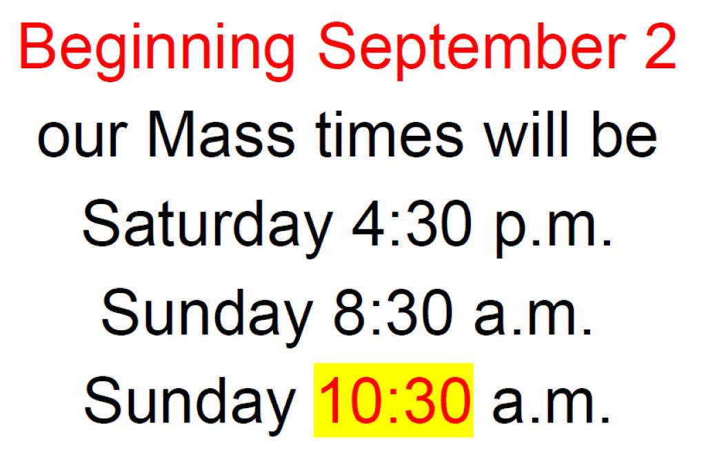 Mass Times Sept 2017