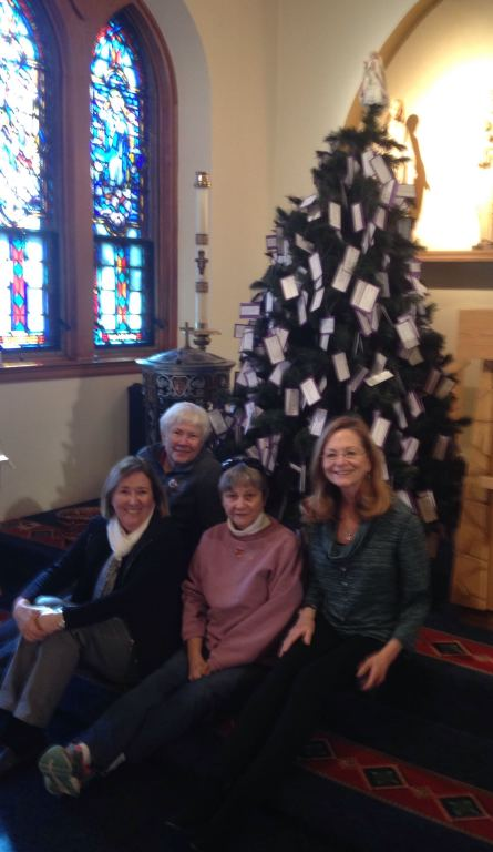 Giving Tree with Charolette, Mary Jo, Pauline, and Denise