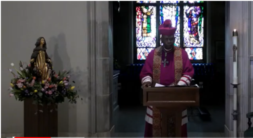 Bishop Braxton praying in the Cathedral of St. Peter in the face of the coronavirus pandemic in which he reconsecrates the Diocese of Belleville to Mary, the Mother of the Church