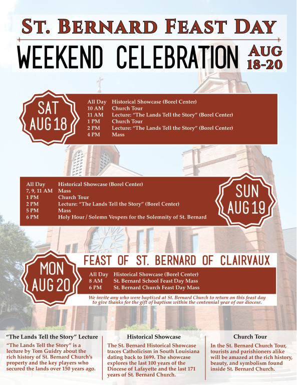 St. Bernard Feast Day - Weekend Celebration