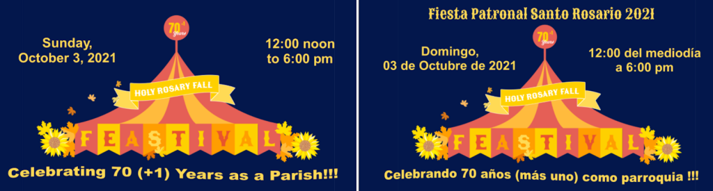Holy Rosary Fall Feastival English-Spanish header