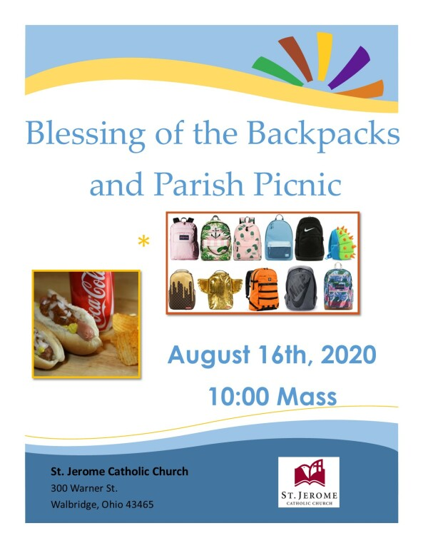 Blessing of Backpacks and Parish Picnic 2020
