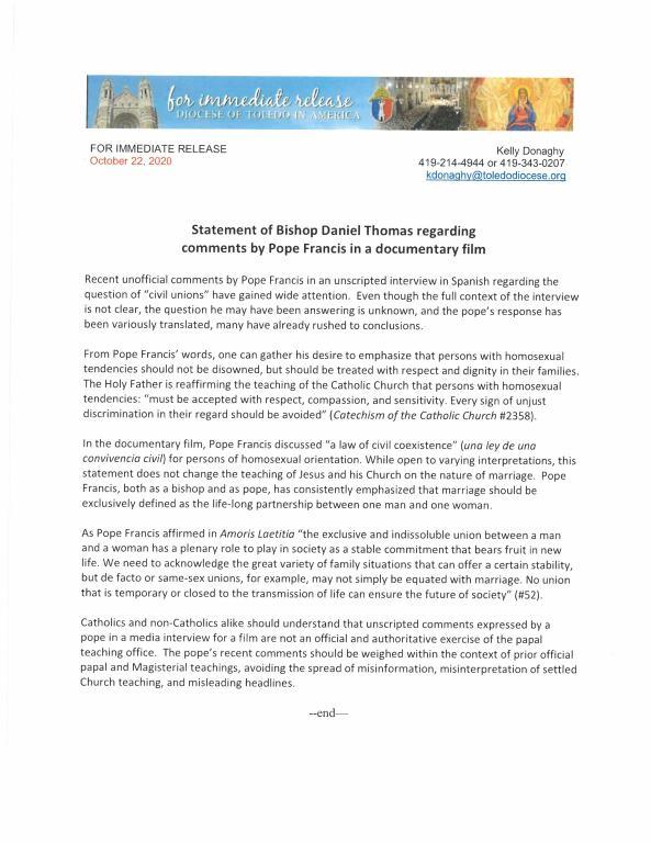 Bishop Thomas on Pope Francis Civil Union Remarks