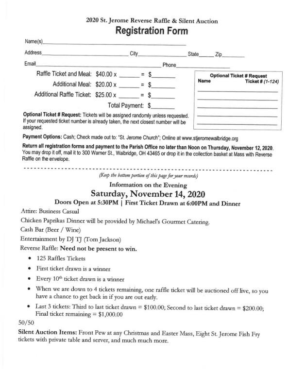 Reverse Raffle Registration 2020