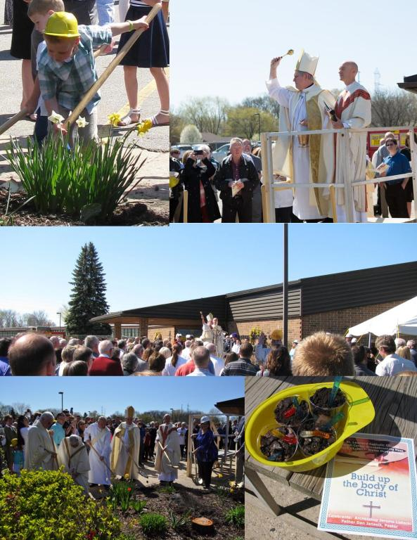 collage of parish center groundbreaking