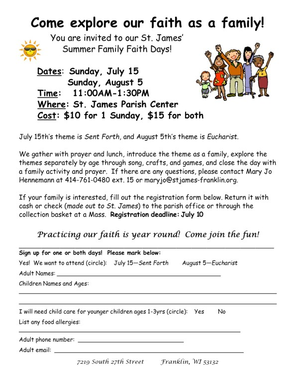 Family Faith Days 2018 Registration