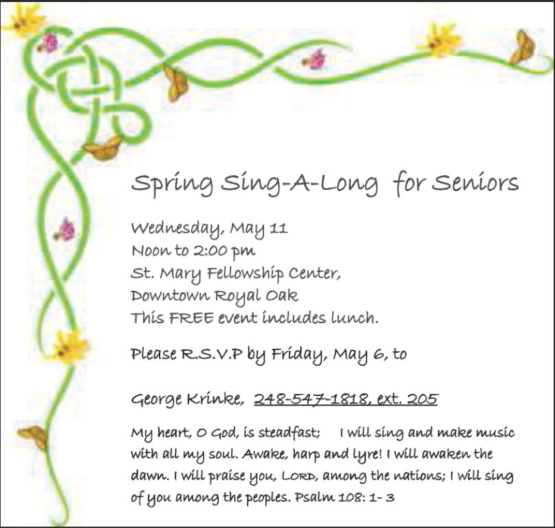 St. Mary Catholic Community Downtown Royal Oak Spring Sing-A-Long For Seniors