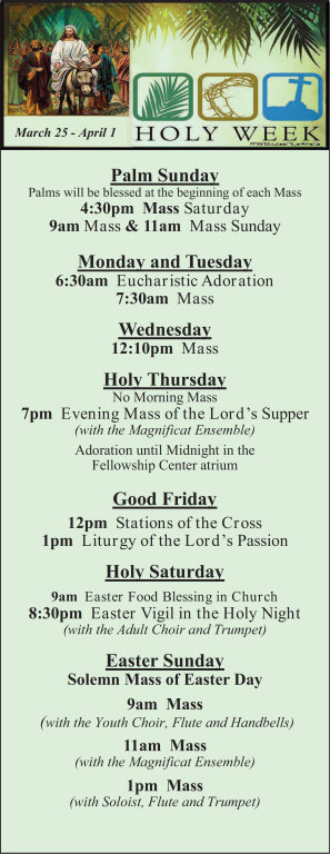 St. Mary Catholic Community Downtown Royal Oak Holy Week Mass Schedule