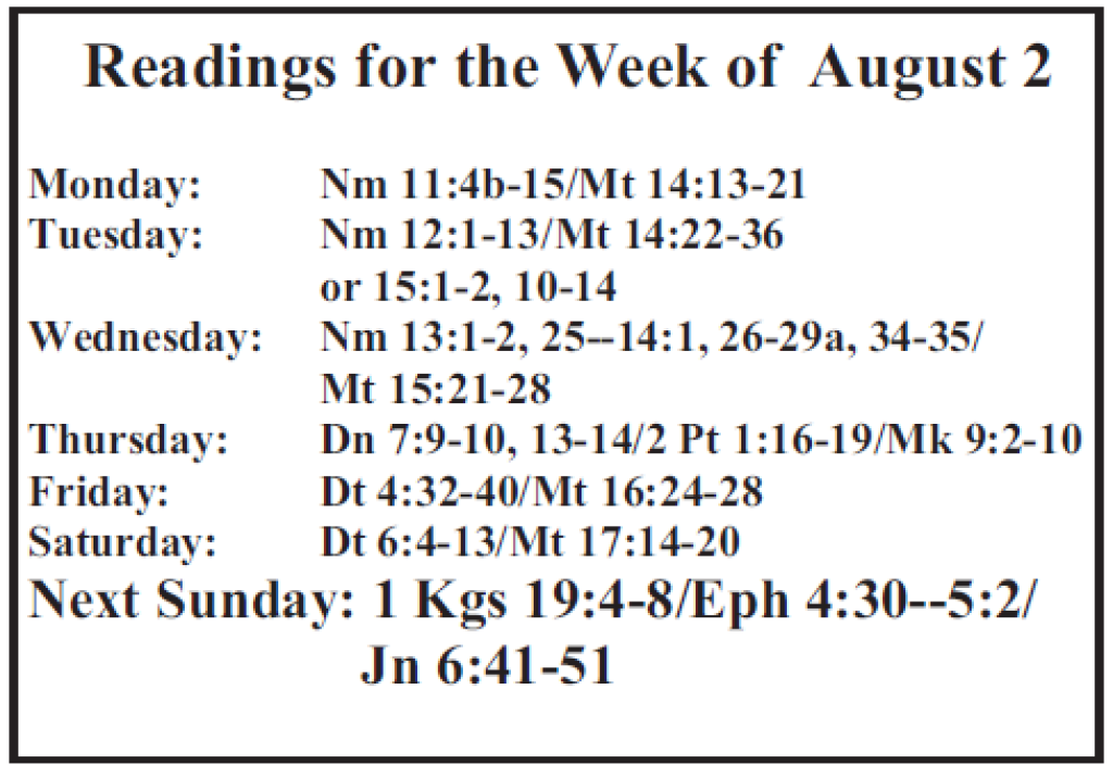 St. Mary Catholic Community Downtown Royal Oak Weekly Readings 8-2-2015