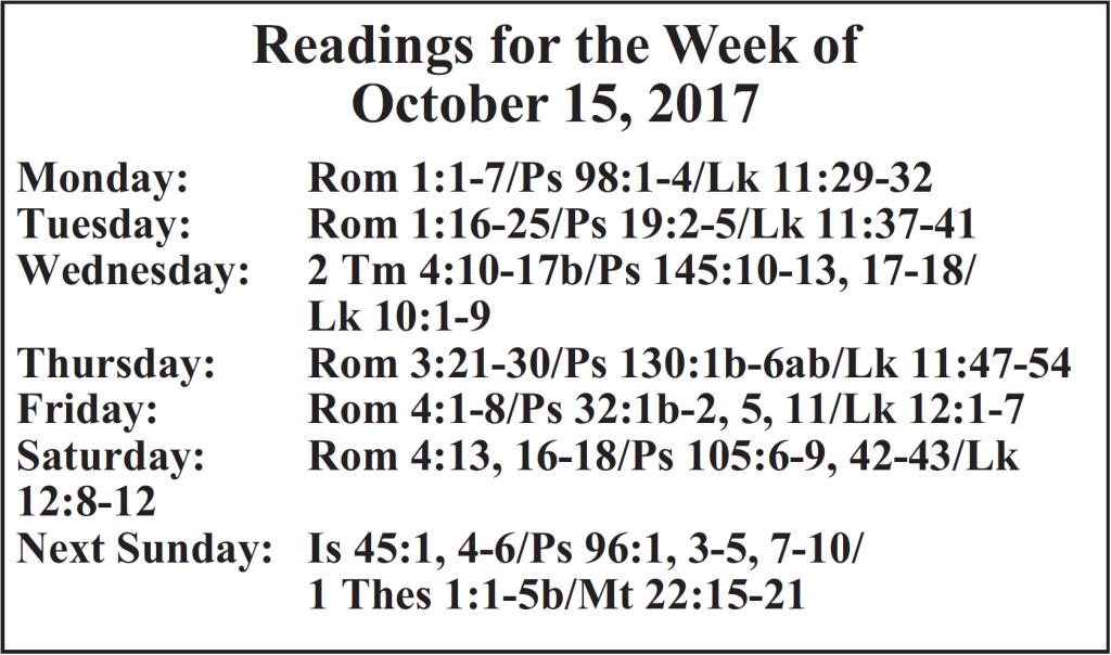 St. Mary Catholic Community Downtown Royal Oak Weekly Readings