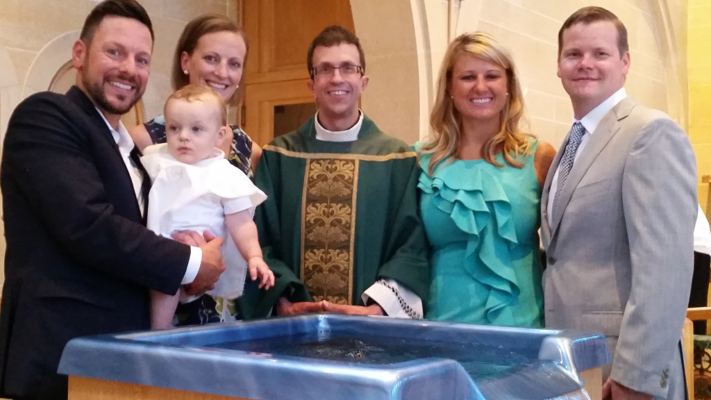 St. Mary Catholic Community Downtown Royal Oak Family Baptism Picture