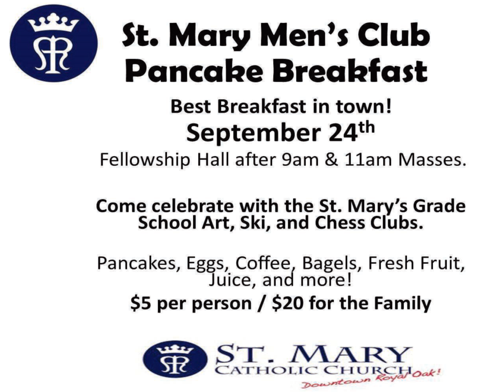 St. Mary Catholic Community Downtown Royal Oak Men's Club Pancake Breakfast