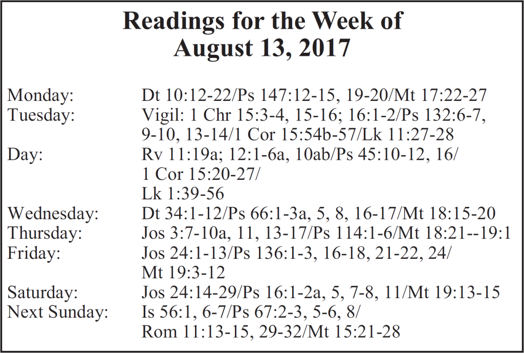 St. Mary Catholic Community Downtown Royal Oak Weekly Readings