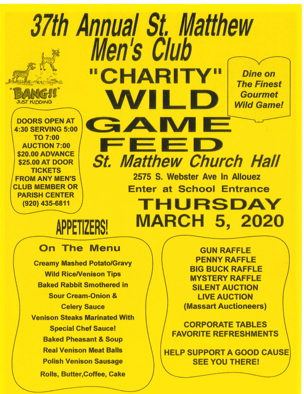 37th Annual Men's Club Wild Game Feed