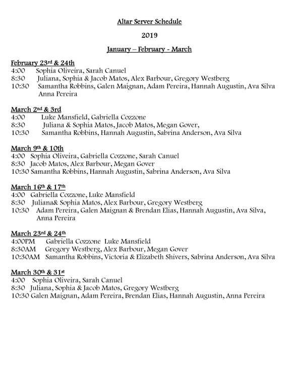 Altar Server Schedule 2