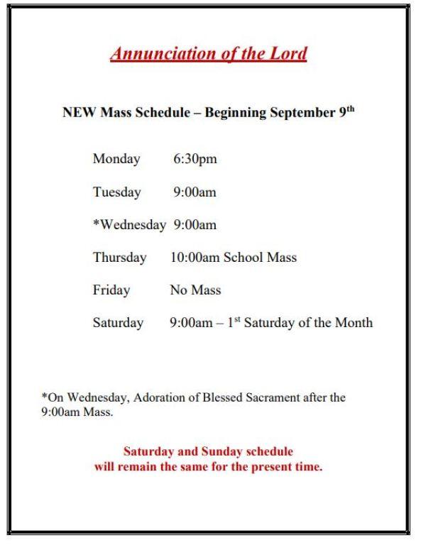 New Mass Schedule