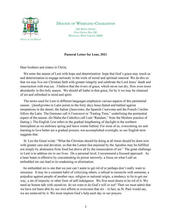 Bishop Brennan's Pastoral Letter for Lent 2021