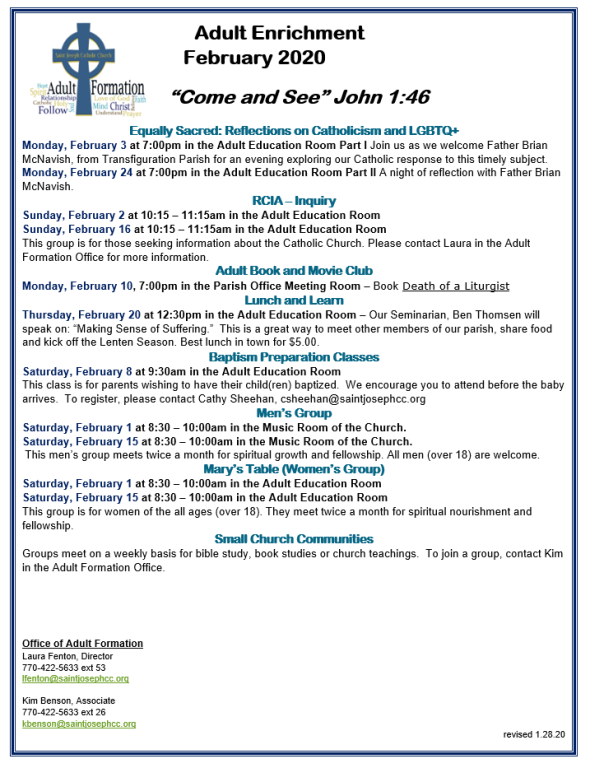 Adult Formation Upcoming Events