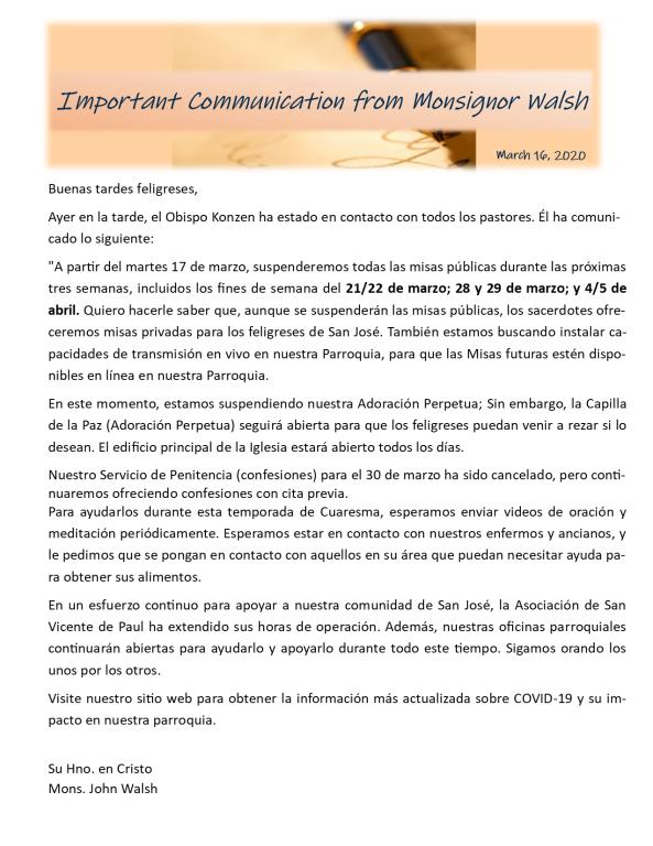 Letter from Monsignor Spanish