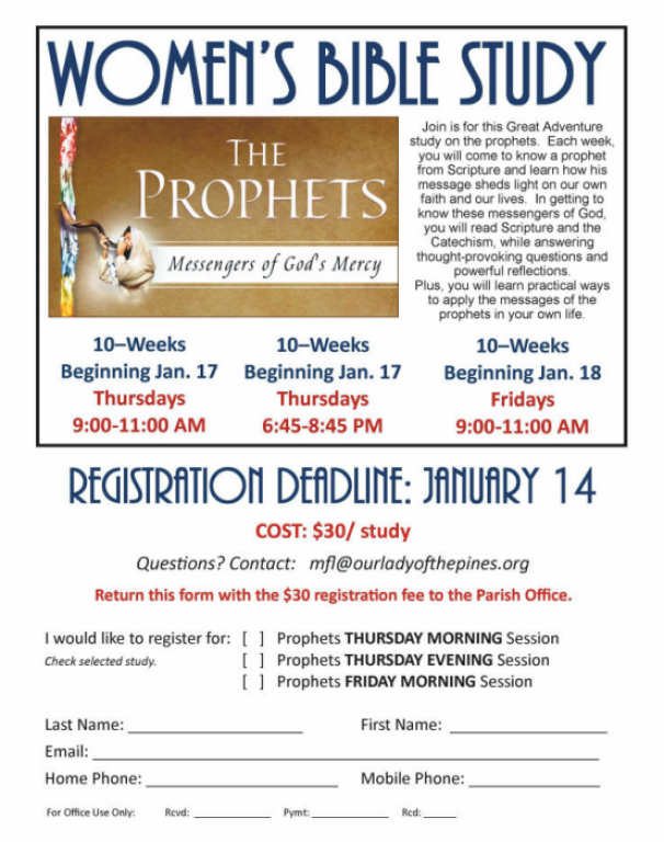 Women's Bible Study | Our Lady of the Pines Catholic Community