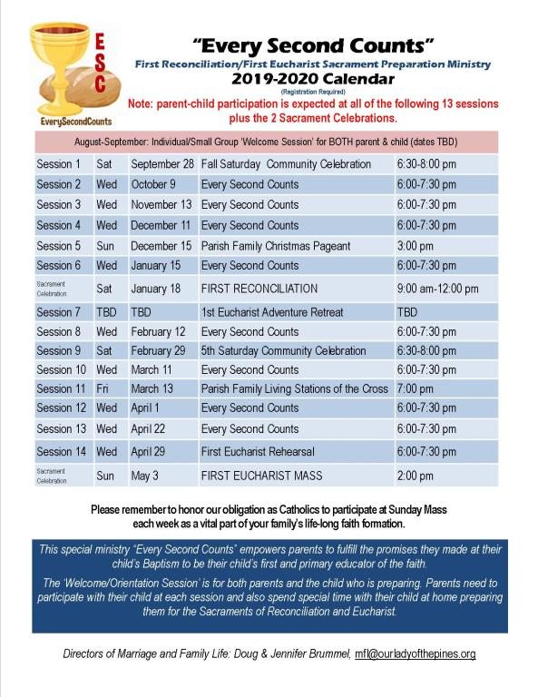 2019-2020 Faith Formation Schedules | Our Lady of the Pines