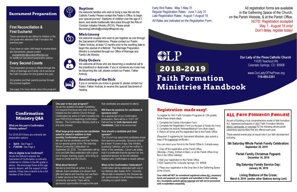 Faith Formation Handbook and Packet 2019-2020   Our Lady of the