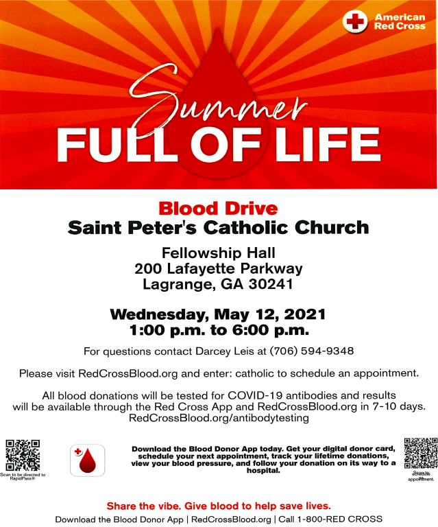 Red Cross Blood Drive May 12