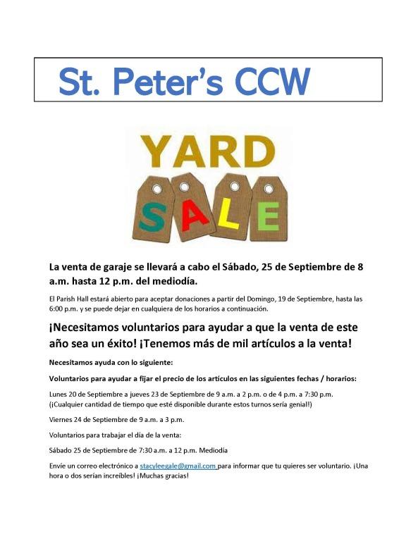 CCW Yard Sale 2021 Spanish