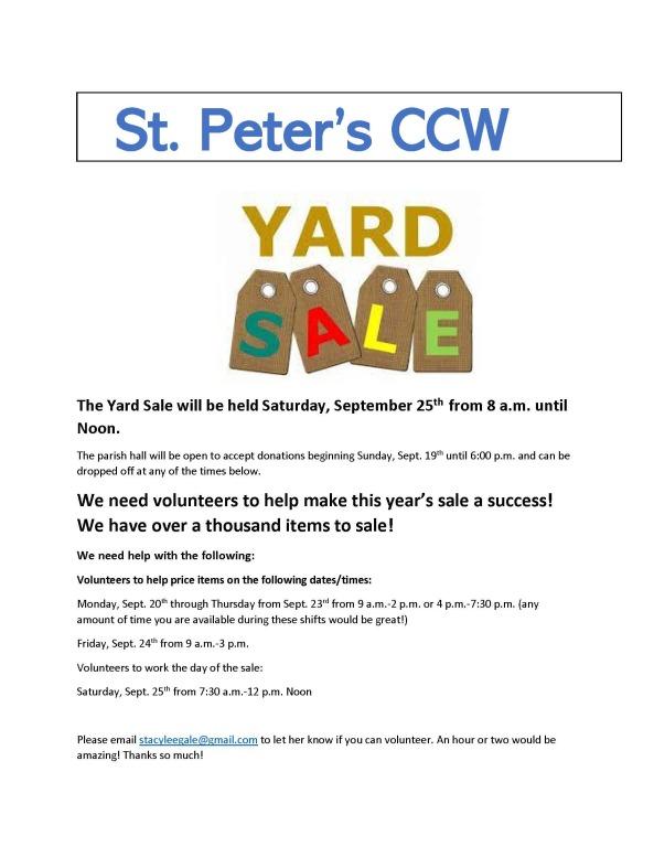 CCW Yard Sale flyer english