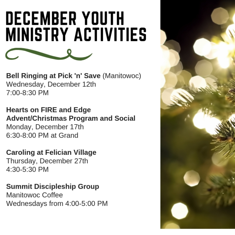 December Youth Ministry Activities